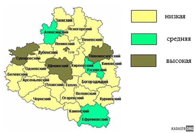 Картограмма загрязнения окружающей среды по муниципальным района Тульской области
