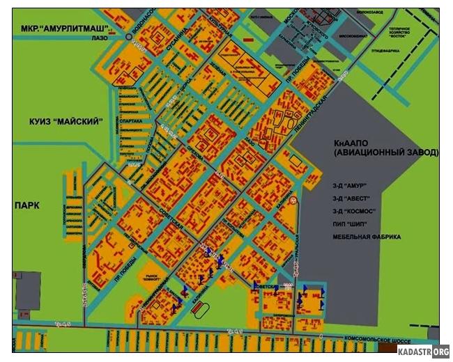 Расположение зданий-памятников в  Ленинском округе г. Комсомольска-на-Амуре