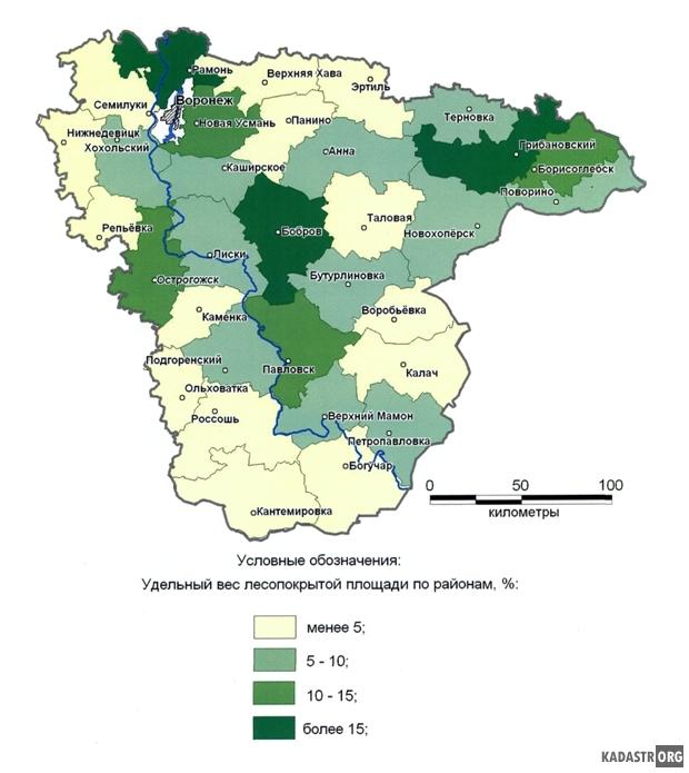 Облесенность территории Вронежской области