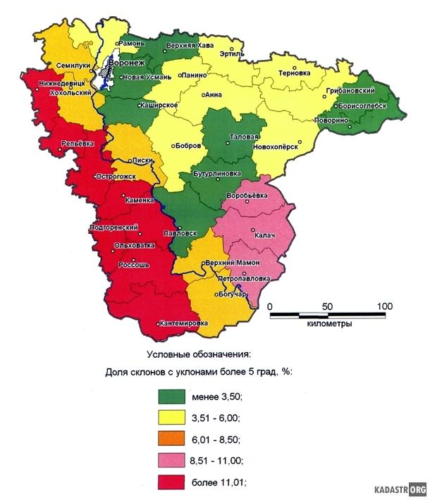 Картосхема крутизны склонов Вронежской области