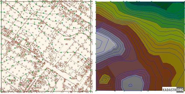 Исходные данные и и полученная в ГИС ArcView TIN модель c горизонталями