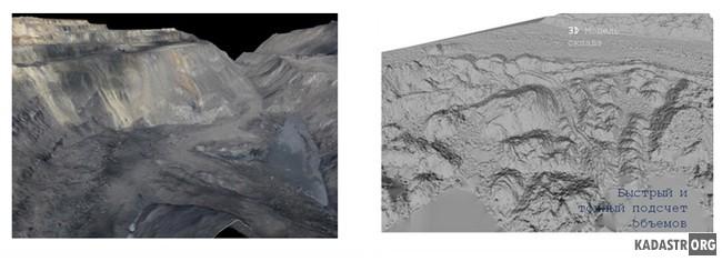 3D модели рельефа: а) разреза