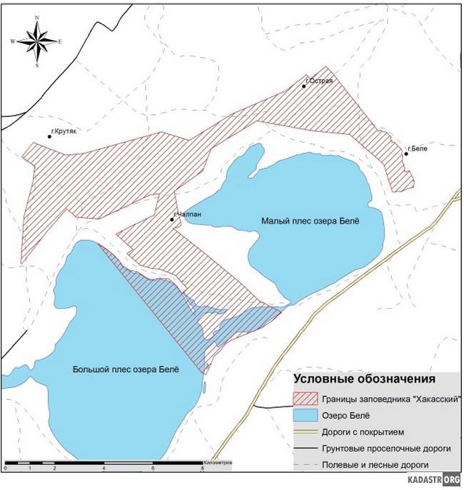 Карта-схема расположения участка «Озеро Белё» заповедника «Хакасский»