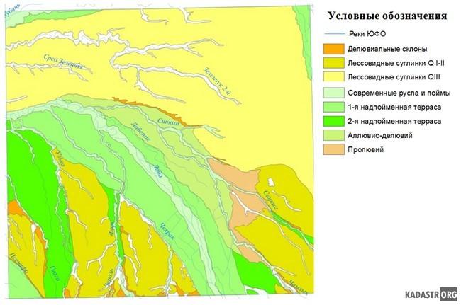 Геоморфологическая карта исследуемой территории