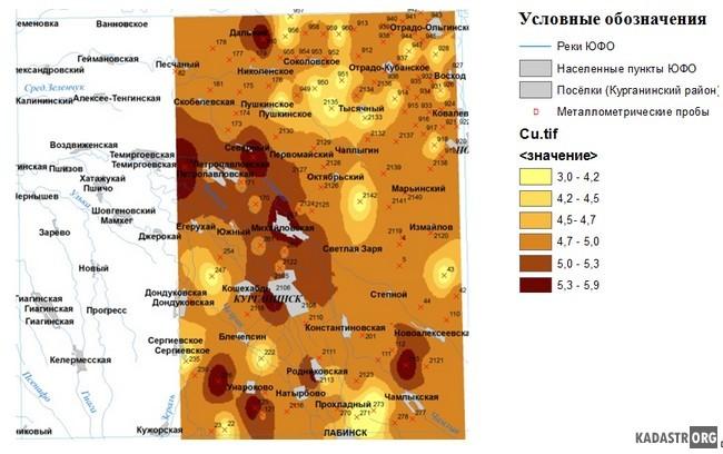 Геохимическая карта распределения Cu