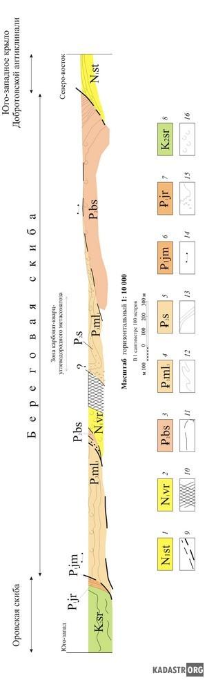 Схематическое изображение структурных соотношений  свит в Береговой скибе
