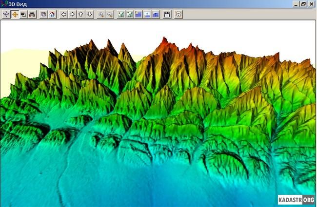 Объемное представление рельефа для листа карты K-38-IX масштаба 1:200 000