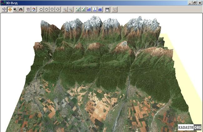 Объемное представление космоснимка для листа карты K-38-IX масштаба 1:200 000
