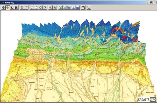 Объемное представление геологической карты листа K-38-IX масштаба 1:200 000