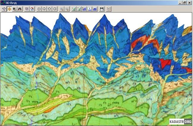 Увеличенный фрагмент объемной модели геологической карты листа K-38-IX