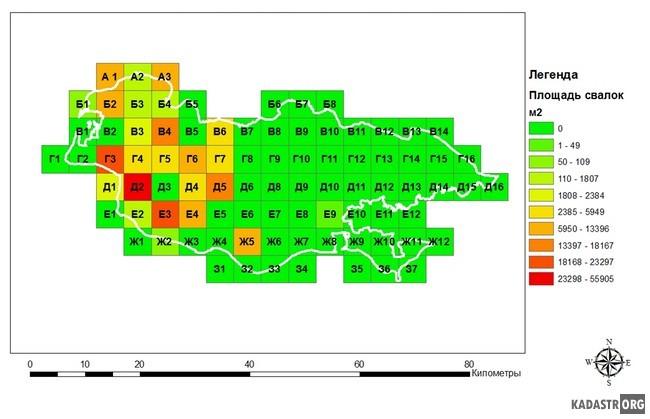 Анализ распределения площадей свалок ТБО на территории Волго-Ахтубинской поймы