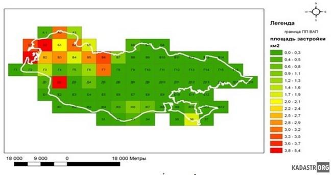Анализ распределения площади застройки на территории ВАП