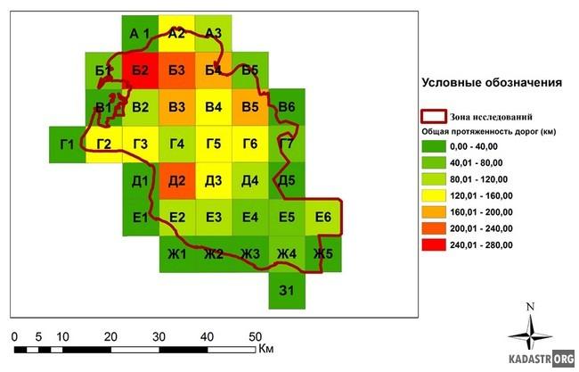Анализ протяженности трёх типов дорог (лесных, грунтовых и дорог с твёрдым покрытием) на исследуемой территории ВАП