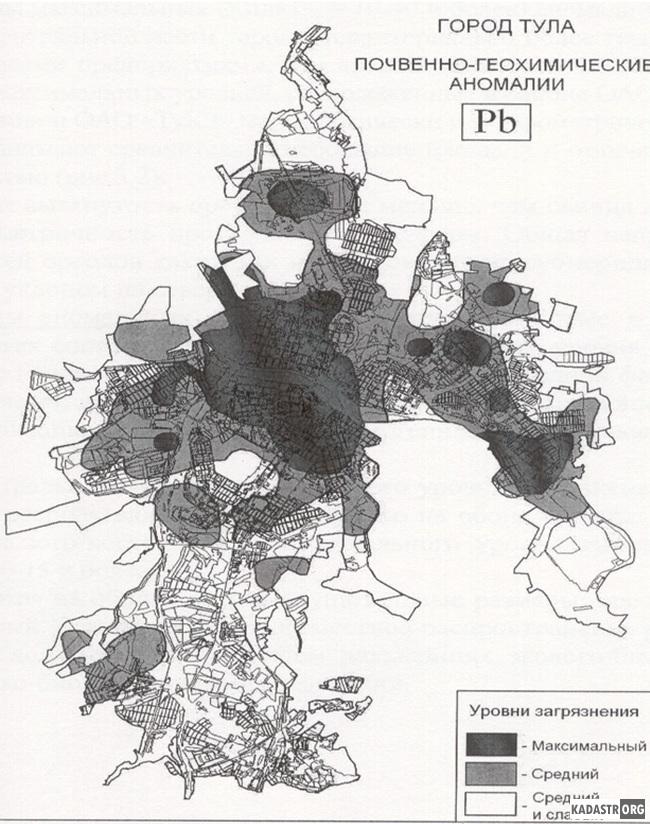 Схема загрязнения почвенного слоя г.Тулы свинцом