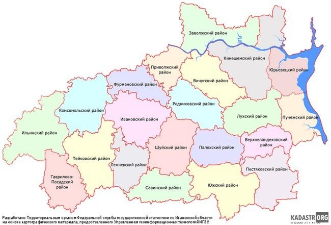 Карта Ивановской области в разрезе муниципальных районов