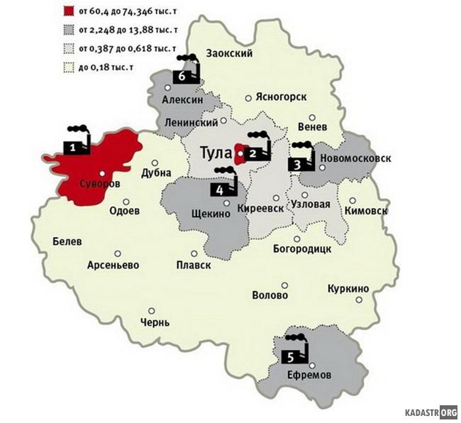 Схема расположения предприятий в Тульском регионе