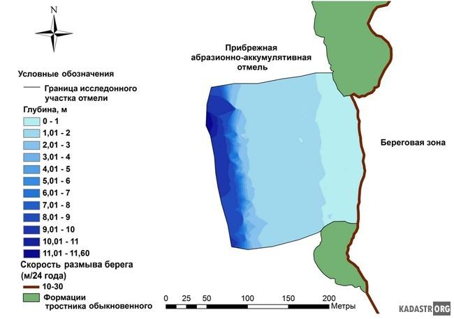 Батиметрическая карта прибрежного мелководья участка Бурты
