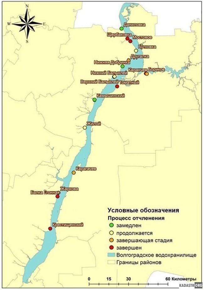 Степень отчленённости заливов от акватории Волгоградского  водохранилища