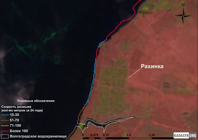 Участки активного отступления береговой линии левобережья