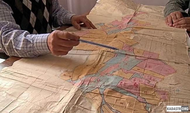 Фрагмент карты распределения земель по формам собственности