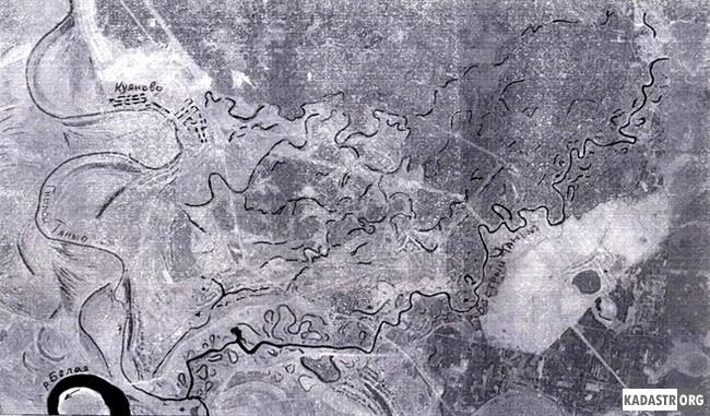 Схема миграции русла реки Быстрый Танып. Фрагмент космического снимка 2012 г. М 1:100000