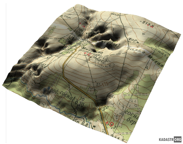 Растровое изображение и трехмерная модель рельефа