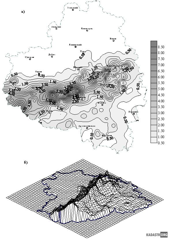 Пример представления данных в виде плоской (а) и трехмерной (б) карт