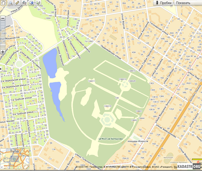 Отображение карты Центрального парка культуры и отдыха г.Тулы и близлежащих кварталов сервисом Яндекс-Карты