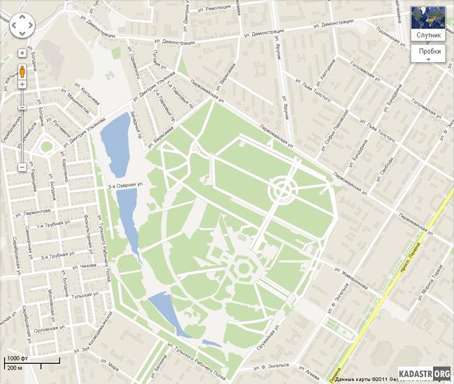 Отображение карты Центрального парка культуры и отдыха г.Тулы и близлежащих кварталов сервисом Google Maps