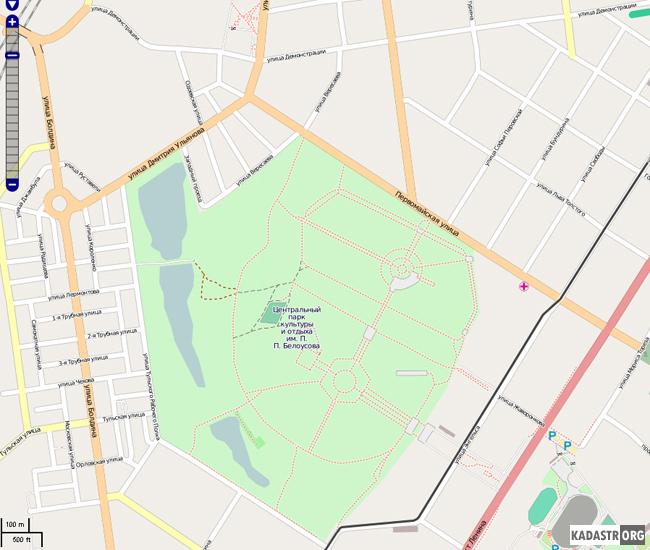 Отображение карты Центрального парка культуры и отдыха г.Тулы и близлежащих кварталов сервисом OpenStreetMap