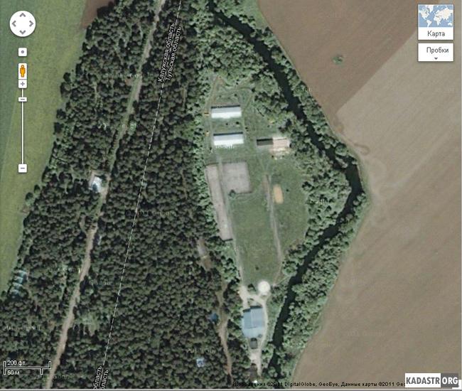 Спутниковое изображение лагеря «Политехник» Тульского государственного университета (Тульская обл., Алексинский р-н, деревня Бунырево) в Google Maps